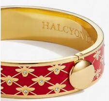 HALCYON DAYS BEE SPARKLE TRELLIS RED ENAMEL HINGED BRACELET, NEW POUCH & BOX
