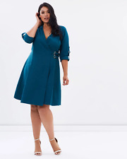 Lost Ink Wrap Dress with Buckle Side Teal Size UK 16 rrp £28 DH077 NN 03