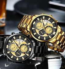 Herren Armbanduhr Edelstahl Uhr Elegant Sportlich Quarz Wasserdicht Watch NIBOSI