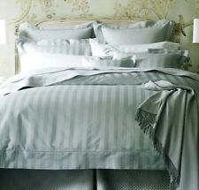 Sferra Presidio Queen Sheet Set 4 PC Lake Blue 590 TC Striped Cotton Sateen New
