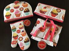 Cupcake Theme 4-Piece Set Kitchen decor potholder, oven mitt, apron, pot warmer