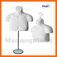 New Male Mannequin Form + Stand,Torso Men Display Trade Show Pant T-Shirt -Whit