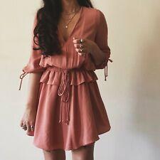 Mango Pink Ruffle Mini Folk Western Dress Romanic Boho Hippie Small