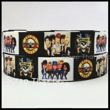 "Guns n Roses  RIBBON.  7/8"" Grosgrain. Scrapbooking/ Bows/ Craft.  Rock n Roll"