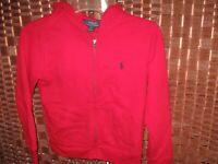 Ralph Lauren Polo red hooded jacket S boys 8  years sweatshirt full zip hoodie