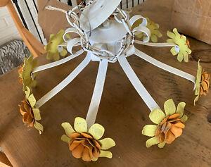 VTG Mid Century Mod BOHO Shabby Tole w Chic Metal Flowers Hanging Pendant Lamp