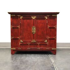 Red Asian Chinoiserie Campaign Cabinet / Nightstand