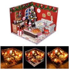 Dollhouse Miniature Kit w/ Cover and LED Wood Toy DIY Dolls Christmas House Room