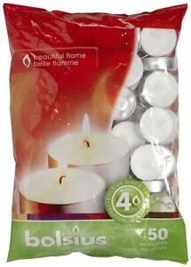 Bolsius Tealights 4 Hour Burn Time - White Tea Lights - 50 Pack