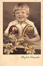 BG4380 child boy flower egg ostern easter   germany greetings