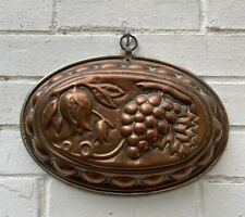 Vintage French Oval Copper Cake Jelly  Mold / Mould Fruits,