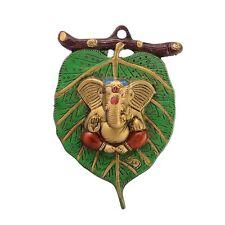 Lord Ganesha On Leaf Metal Figurine Wall Hanging Home Decor New Year Xmas Gift