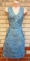 DOROTHY PERKINS MINT GREEN GREY FLORAL LACE TULLE EMBROIDERED A LINE DRESS 10 S