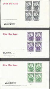 MALTA 1951 FDC x 3 COVERS PLATE BLOCKS