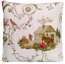 """Toile Cushion Cover Printed Linen Fabric Colefax & Fowler Pink Green White 16"""""""