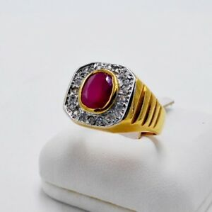 MEN RING RED RUBY 24K YELLOW GOLD FILLED GP WEDDING SOLITAIRE BISHOP LUXURY SZ 8