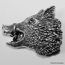 Wild Boar Pewter Pin Brooch - British Hand Crafted - Pig Head Hunting Shooting