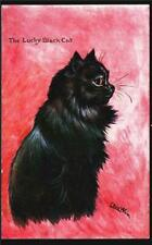 LOUIS WAIN.SIGNED THE LUCKY BLACK CAT.  OLD POSTCARD.