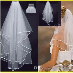White 2t Bridal Wedding Veil with Comb, Elbow length, Satin Edge,pearl or plain