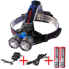 8000LM LED CREE XML T6 USB 2Head Headlight Headlamp 18650/AA/AAA+Battery+Charger