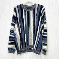 Protege Collection Coogi Style 3D Knit Sweater Mens Sz XL Blue Black Gray White
