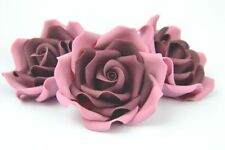 Set of 3 vintage dusky pink sugar paste rose, handmade, topper,wedding edible