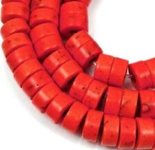 "6mm Turquoise Heishi Rondelle Beads 16""  - Orange"