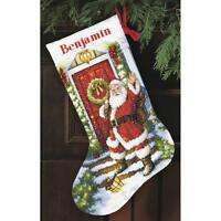 """Counted Cross Stitch Christmas Stocking KIT Welcome Santa Dimensions 16"""""""