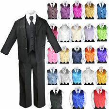 7pcs Baby Boy Teen Formal Wedding Party Black Tuxedo Suits + Color Vest Tie Set