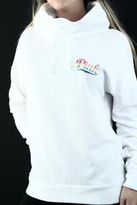 Victoria's Secret PINK High Neck Sweatshirt Pullover Logo Fleece Cowl NWT