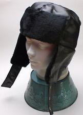 New Black Faux Leather Bomber Aviator Russian Winter Earflap Hat Trapper Trooper