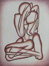 Astratto Nudo Sexy Amanti dipinto ad olio su tela arte originale rosa bianco panna