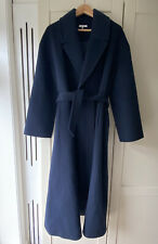GANNI Belted Wool-blend felt Coat In Navy Blue Size FR 38