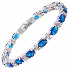 Oval Blue Sapphire Zirconia CZ Tennis Bracelet White Gold Filled Gift 7""