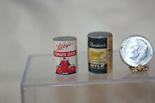 Miniature Dollhouse Vintage Cans Borden Milk Libbys Tomato Juice 1:12 or Larger