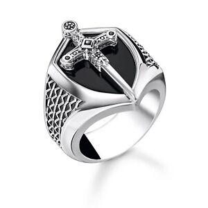 Genuine THOMAS SABO Sterling Silver Sword Onyx Signet Ring TR2311