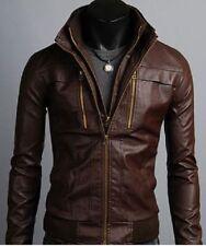 Men slimfit Leather Jacket Korean Style Casual Slim Fit Biker leather jacket men