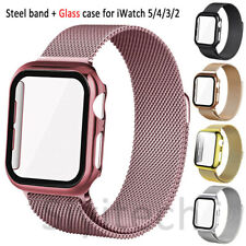 iWatch Strap For Apple Watch SE/6/5/4/3 Steel Band+Glass Case Cover 40/42/44mm