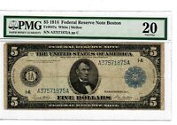 1914 $5 Fr.847a Boston MA FRN Federal Reserve Note PMG VF20 Large Size Note 2004