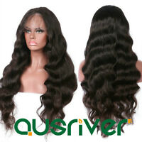 Women Long Wave Wig Front Lace Real Human Hair Soft Smooth Curly Hair