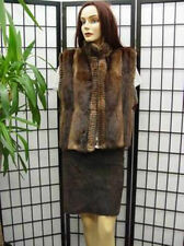 *Refurbished New Muskrat Fur Vest Jacket W/ Grooving Design Woman Woman Sz M