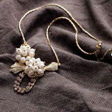 Luxury Bridal Gold Champagne Crytal Rhinestone Pearl Pendant Charm Necklace