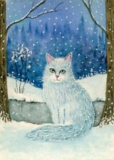 ACEO Original Watercolor Painting Cat in winter