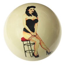 Pool/Billiards Pin-Up on Barstool Custom Cue Ball Great Gift! NEW and Unique!