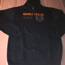 Chicago Bears Classic Full Zip Hoodie XL Tall Navy Distressed Logos Jacket NFL
