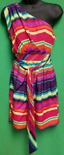 As You Wish Colorful Striped One Shoulder Dress - Size 1 Junior - NWT