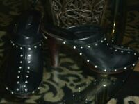 MICHAEL Michael Kors Astor Clogs Size 8 Leather Studded Heels Black Mules