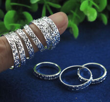 10pcs/lot Wholesale Silver Carved Hand &Toe Rings Mix SZ 4-10#