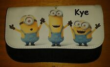Personalised Minions Black Pencil Case -Include Name Great For School Boys/Girls