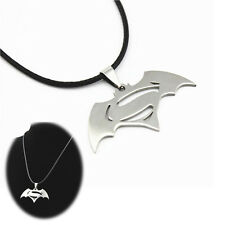 Batman VS Superman Stainless Steel Movie Superhero Leather Pendant Necklace Gift